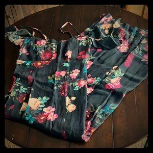 Spaghetti strap/off the shoulder floral maxi dress